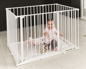 Square Playpen with Mat (White)